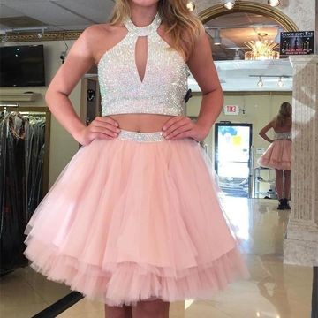 Halter Sleeveless A-line Two Piece 2019 Homecoming Dress