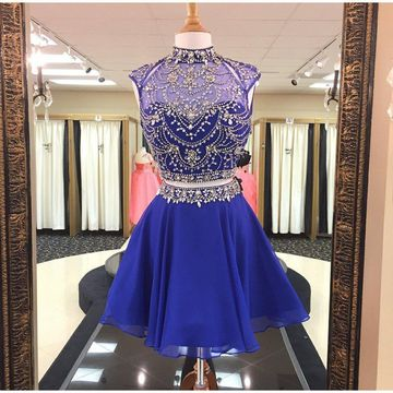 Royal Blue High Neck Beading A-line 2019 Two Piece Homecoming Dress Chiffon