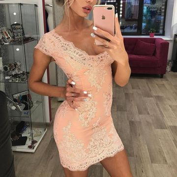 Pink V-neck Capped Sleeves Sheath Lace 2019 Homecoming Dress