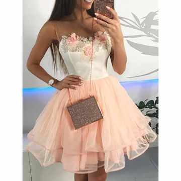 Pink Round Neck Sleeveless Flowers A-line 2019 Homecoming Dress
