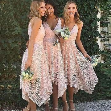 Pink V-Neck Asymmetrical A-line Lace 2019 Bridesmaid Dress