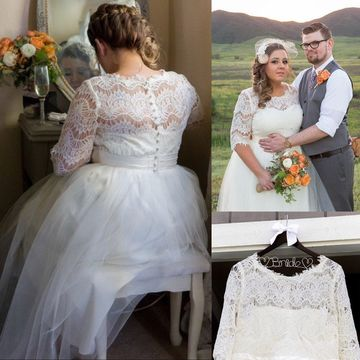 Round Neck Half Sleeves Lace A-line 2019 Wedding Dress Plus Size