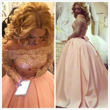 Ball Gown Long Sleeves Off-the-Shoulder Beading Satin Floor-Length Prom Dresses ZZZ