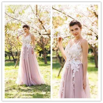 A-Line/Princess Jewel Sleeveless Floor-Length Applique Tulle Prom Dresses ZZZ