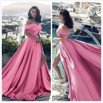 A-Line/Princess Sleeveless Off-the-Shoulder Ruffles Satin Court Train Prom Dresses ZZZ