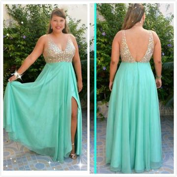 A-Line/Princess V-neck Sleeveless Beading Floor-Length Chiffon Plus Size Prom Dresses YYY