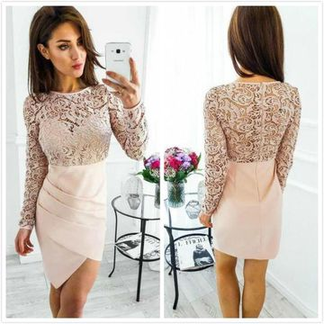 Pink Long Sleeves Lace Sheath 2019 Homecoming Dress