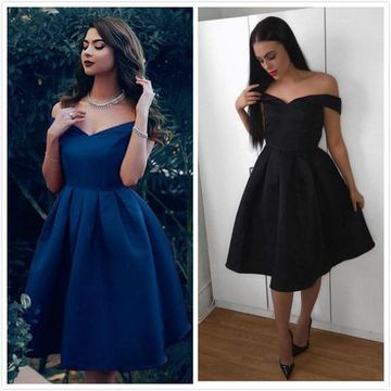 Dark Navy Off the Shoulder A-line 2020 Homecoming Dress