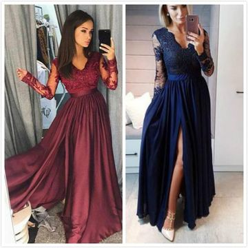 Burgundy Long Prom Dresses 2020 A-line V-Neck Long Sleeves Lace