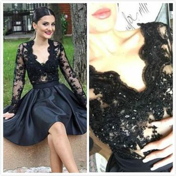 Black Short Prom Dresses 2019 V-Neck Long Sleeves A-line