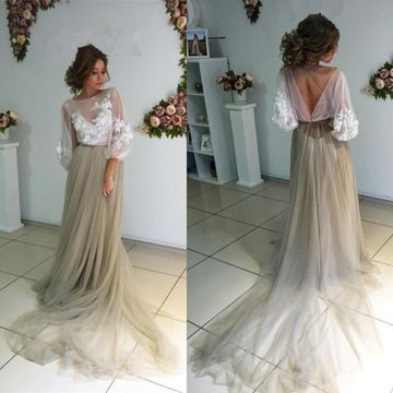 Long Grey A-line Zipper Appliques Prom Dresses 2019 Chiffon For Short Girls