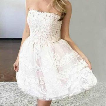 White Strapless A-line Lace 2019 Homecoming Dress