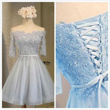 Blue Off the Shoulder A-line Lace 2019 Homecoming Dress