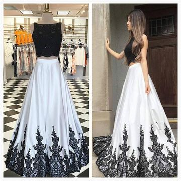 d3f7c44dd8c0 49%OFF Long Prom Dresses 2019 A-line Sleeveless Open Back Two Piece ...