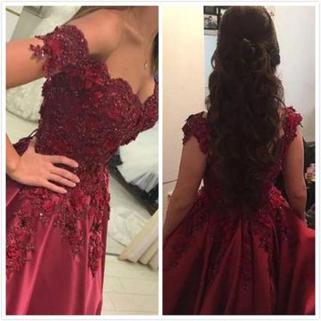 Burgundy Long Prom Dresses 2019 A-line