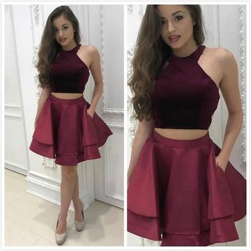 Short Homecoming Prom Dresses 2019 A-line Sleeveless Sexy For Short Girls Two Piece