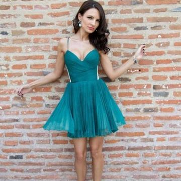 Green Spaghetti Straps A-line 2019 Homecoming Dress