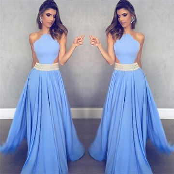 Blue Long Prom Dresses 2019 A-line Halter Sleeveless