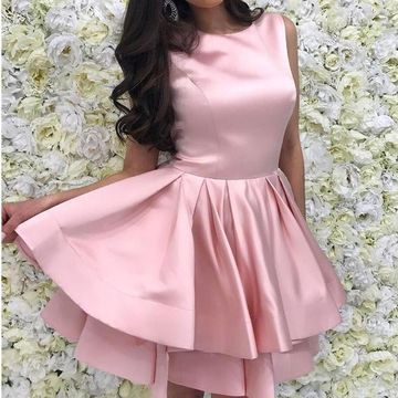 Pink Round Neck Sleeveless A-line 2019 Homecoming Dress