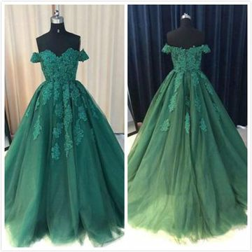 Green Long Prom Dresses 2019 A-line Ball Gown