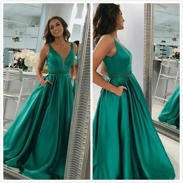 4c7d46f2320a3 49%OFF Green Long Prom Dresses 2019 A-line V-Neck Sleeveless ...