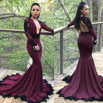 49off Sexy Burgundy Mermaid Long Sleeves Zipper Appliques Prom