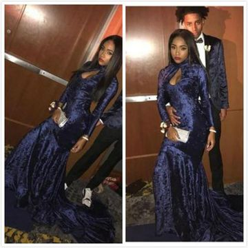 Dark Navy Long Sleeves Mermaid Velvet Prom Dresses 2019 African Sexy