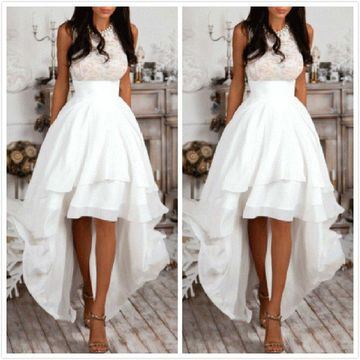 White Long High-Low Prom Dresses 2019 A-line Sleeveless Chiffon Lace