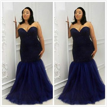 Long Prom Dresses 2019 Mermaid Strapless Sleeveless African Plus Size