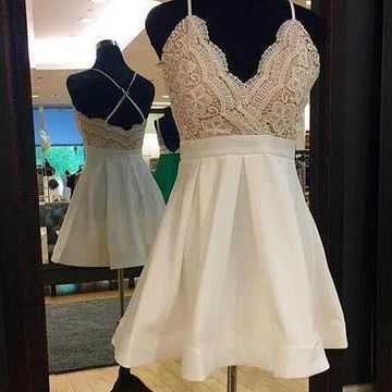Spaghetti Straps V-neck A-line 2019 Homecoming Dress Lace