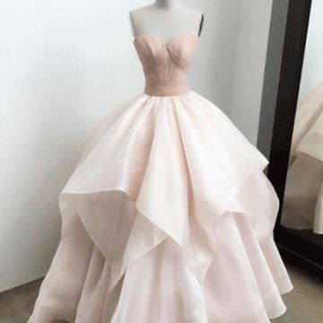 Pink Long Prom Dresses 2019 Ball Gown Sleeveless