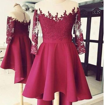 Burgundy Round Neck Illusion Long Sleeves Lace High Low 2019 Homecoming Dress A-line