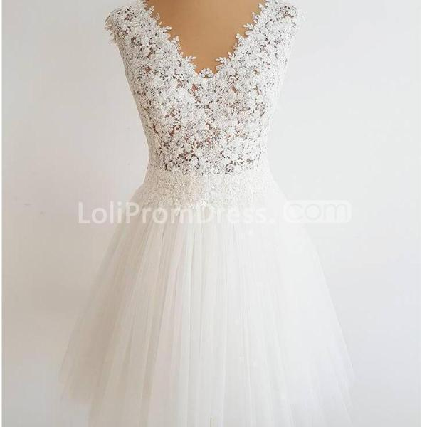 aebff8ad1a18 49%OFF White V-neck Sleeveless A-line 2019 Homecoming Dress Lace ...
