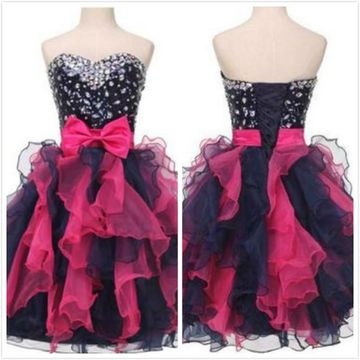 Cute Black A-line Sweetheart Sleeveless Corset Bow(s) Homecoming Prom Dresses 2019