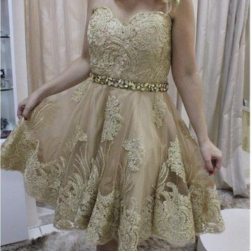Gold Sweetheart Sleeveless A-line 2020 Lace Homecoming Dress