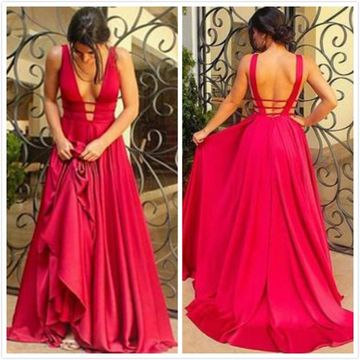 Long Sexy Red A-line V-Neck Sleeveless Prom Dresses 2020 Chiffon