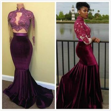Sexy Purple Mermaid High Neck Long Sleeves Appliques Prom Dresses 2019 Two Piece