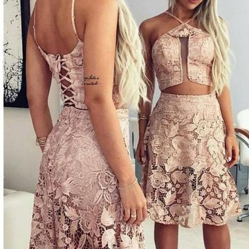 Pink Lace A-line 2020 Two Piece Homecoming Dress