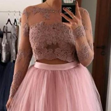 Pink Long Sleeves A-line 2019 Two Piece Homecoming Dress Lace