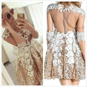 Champagne Illusion Half Sleeves A-line 2020 Homecoming Dress Lace