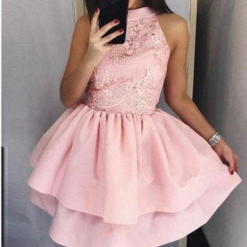 Sleeveless A-line Lace 2019 Homecoming Dress