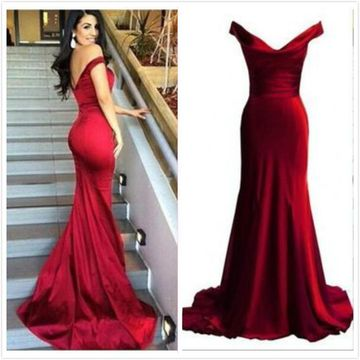 Simple Long Red Mermaid Sleeveless Zipper Prom Dresses 2019