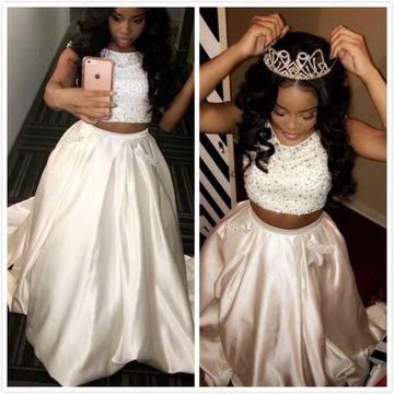 White Pearls Sleeveless Satin Two Piece Prom Dresses 2019 African For Short Girls