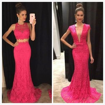 Long Sexy Mermaid V-Neck Sleeveless Backless Prom Dresses 2019 Open Back Lace