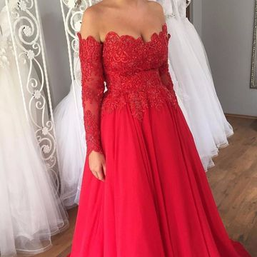 Red Long Prom Dresses 2019 A-line Chiffon Long Sleeves Lace