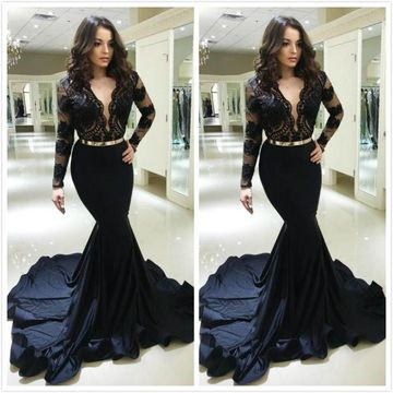 Black Long Prom Dresses 2020 Mermaid V-Neck Long Sleeves Lace