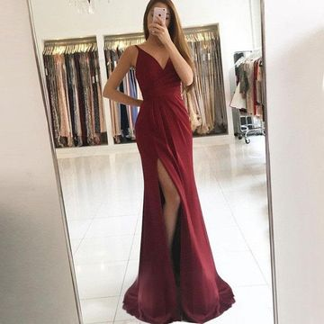 Burgundy Long Prom Dresses 2019 V-Neck