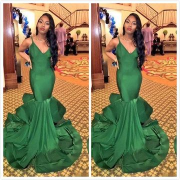 Cheap Long African Green Mermaid Spaghetti Straps Sleeveless Zipper Prom Dresses 2019 Sexy For Short Girls