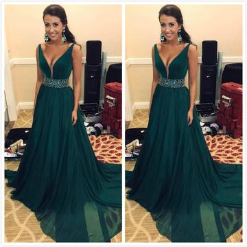 Cheap Long Elegant A-line V-Neck Sleeveless Zipper Crystal Detailing Prom Dresses 2019 Chiffon Sexy For Short Girls