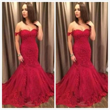 Cheap Long Elegant Red Mermaid Short Sleeves Zipper Appliques Prom Dresses 2019 Sexy For Short Girls